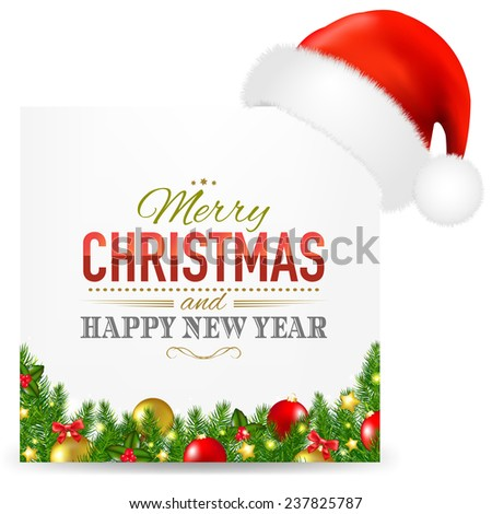 Christmas Card With Santa Hat And Text With Gradient Mesh, Vector Illustration - stock vector
