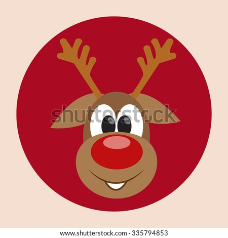 Christmas card with smiling cute reindeer. Holiday background with hand drawn cartoon character. Curious deer. Winter backdrop with cool animal. Vector illustration editable for your design - stock vector