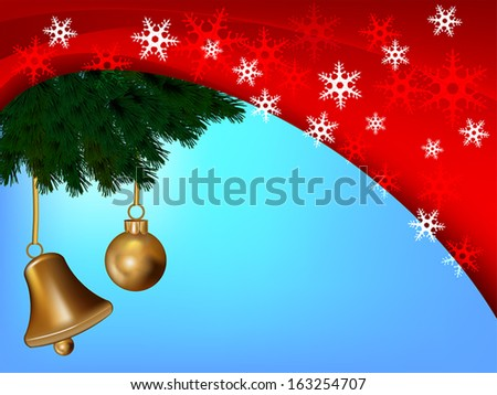 christmas card with snow, bell and ball - stock vector