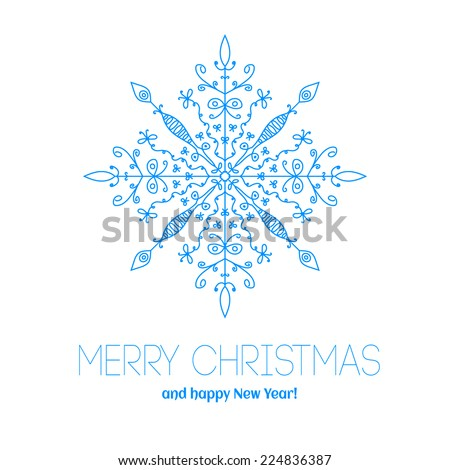 Christmas card with snowflake. Merry Christmas! Template congratulations christmas. Hand drawn snowflake - stock vector
