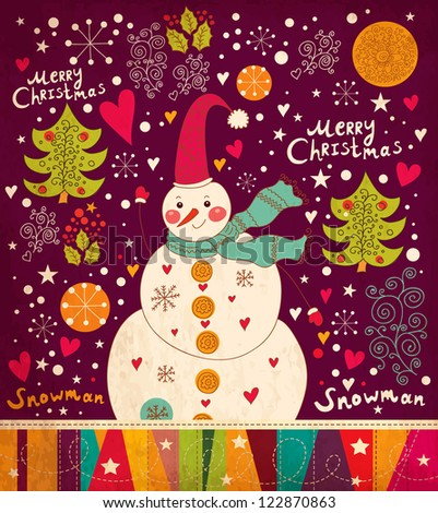 Christmas card with Snowman - stock vector