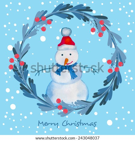 Christmas card with snowman. Vector illustration - stock vector