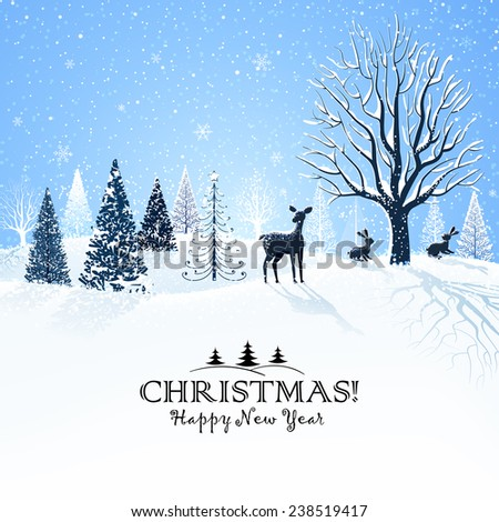 Christmas card with snowy trees and reindeer - stock vector