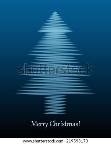 Christmas Card with sound waves fir - stock vector
