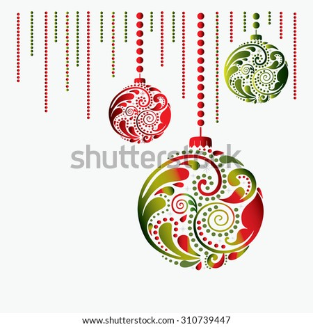 Christmas card with the balls. - stock vector