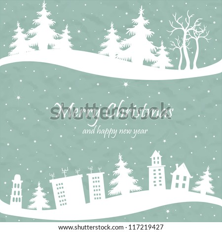 Christmas card with the shape of houses and trees - stock vector