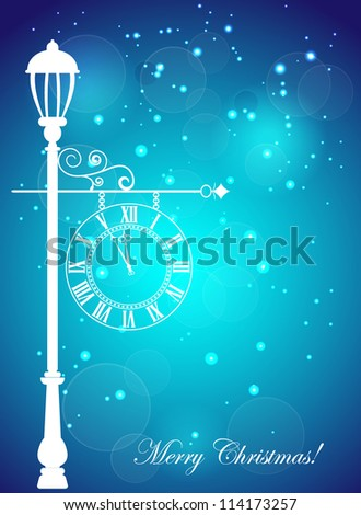 Christmas card with the silhouette of street clock and snowflakes - stock vector