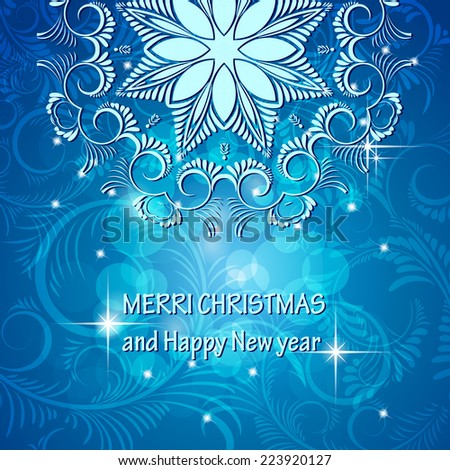 Christmas card With the words  Merry Christmas and a happy new year  - stock vector