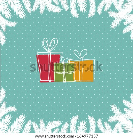 Christmas card with three gift boxes - stock vector