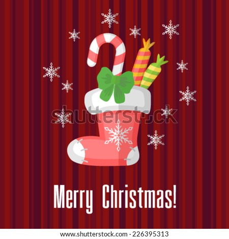 Christmas card with traditional sock or stocking - stock vector