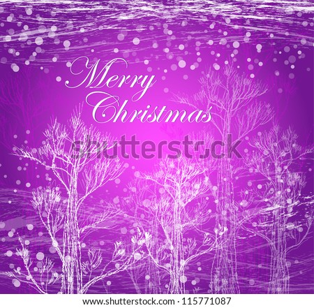 Christmas card with trees - stock vector