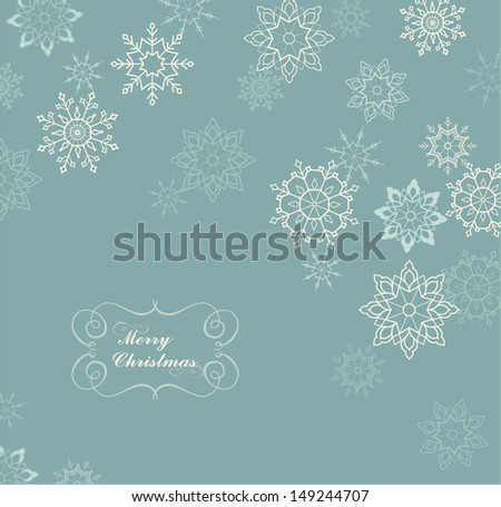 Christmas card with white snowflakes. Winter background.  - stock vector