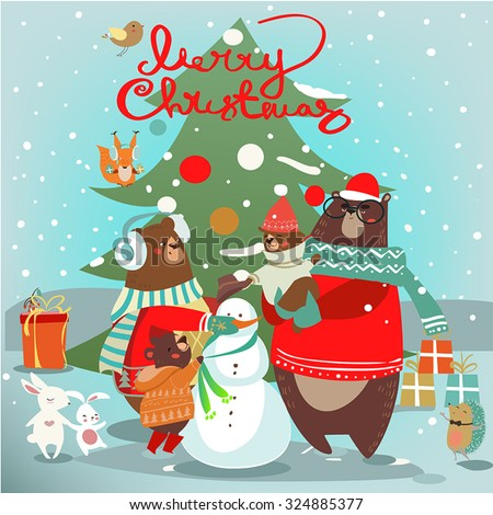 christmas card with wild animals - stock vector