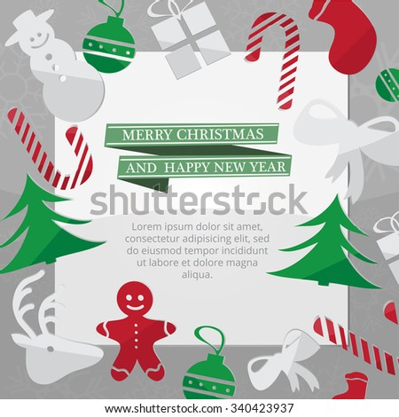 Christmas card with Xmas decorations - green vector illustration - stock vector