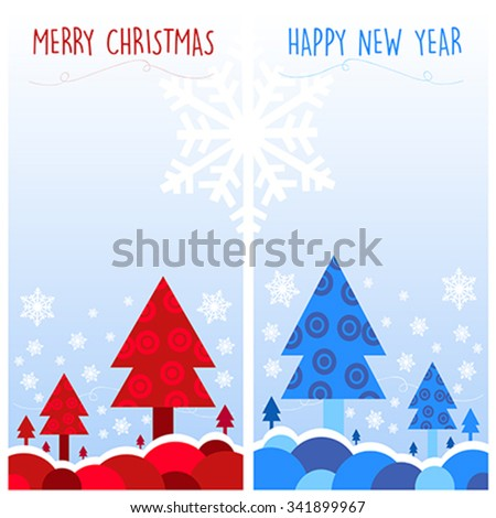 Christmas cards vector illustration. Blue and Red - stock vector