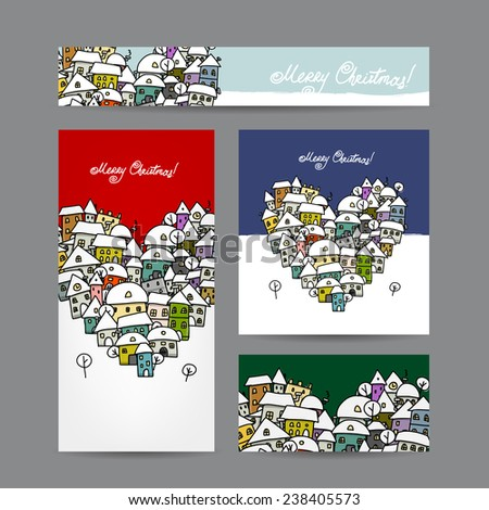 Christmas cards with winter city sketch for your design. Vector illustration - stock vector