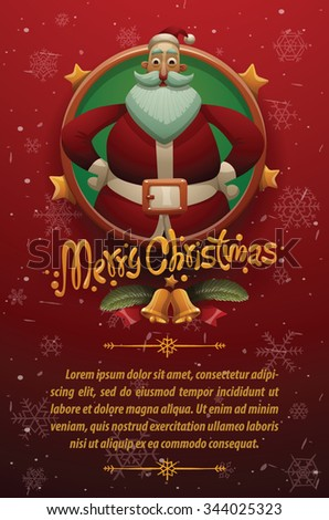 Christmas cars with red background with snowflakes. Round gold emblem with stars and Cute Santa Claus on the top and your text on below, vector - stock vector
