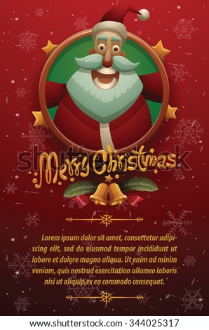 Christmas cars with red background with snowflakes. Round gold emblem with stars and face of cute happy Santa Claus on the top and your text on below, vector - stock vector