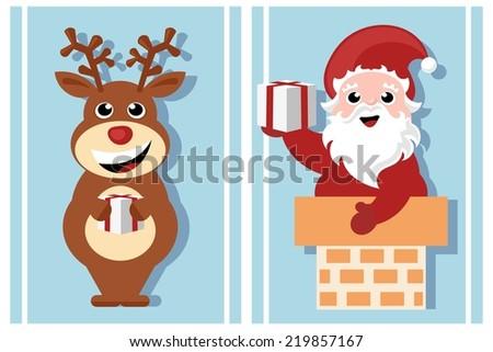 christmas cartoon characters - santa claus and rudolph reindeer - stock vector