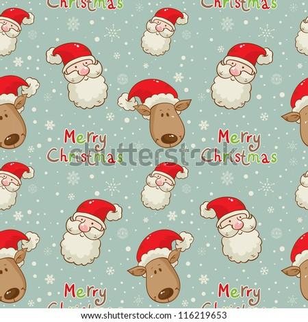 Christmas cartoon characters seamless pattern with Santa Claus and deer on winter snowflakes background - stock vector