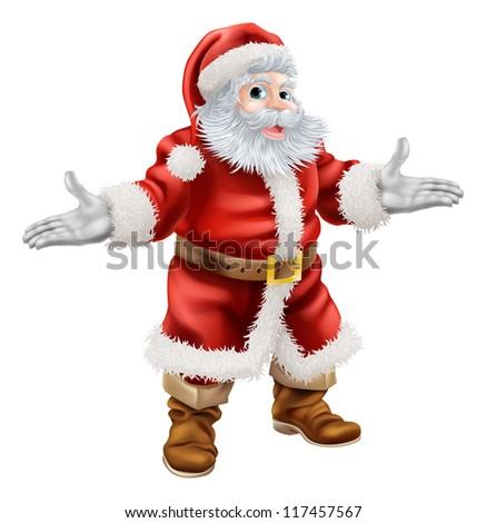Christmas cartoon illustration of full body standing happy Santa Claus - stock vector
