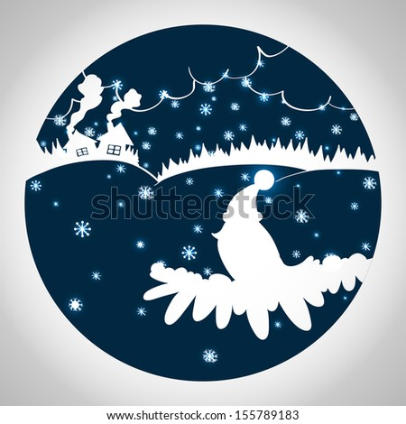 Christmas cartoon illustration with bird in a hat, cozy cartoon houses, forest and sparkling snowflakes. Silhouettes in blue circle. - stock vector