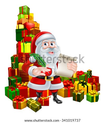 Christmas cartoon of Santa Claus holding a scroll and pen quill feather and standing in the middle of a huge stack of gifts. Perhaps his naughty or nice Christmas list.