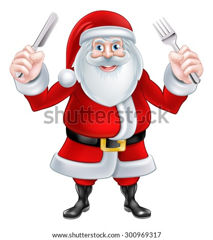 Christmas cartoon santa claus holding a knife and fork ready for