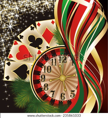 Christmas casino banner with poker cards, vector illustration - stock vector