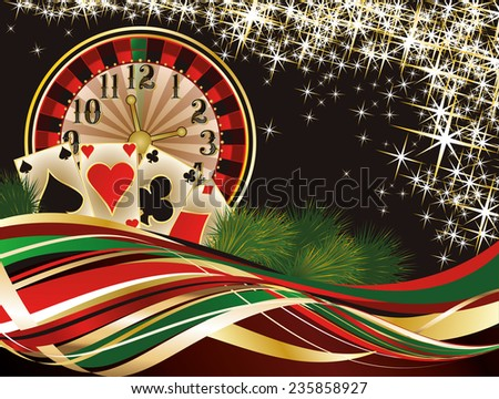 Christmas casino invitation background, vector illustration - stock vector