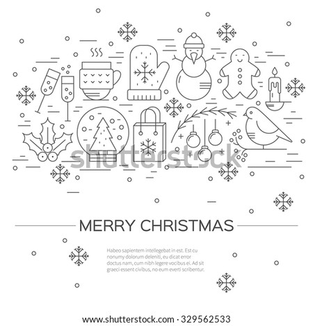 Christmas celebration concept - lots of new year and christmas symbols isolated on background with place or your text. Christmas flyer made in line style vector. - stock vector