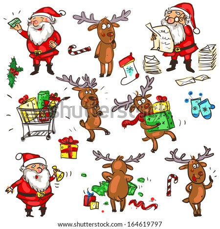 Christmas characters, cartoon doodles - set 1. - stock vector
