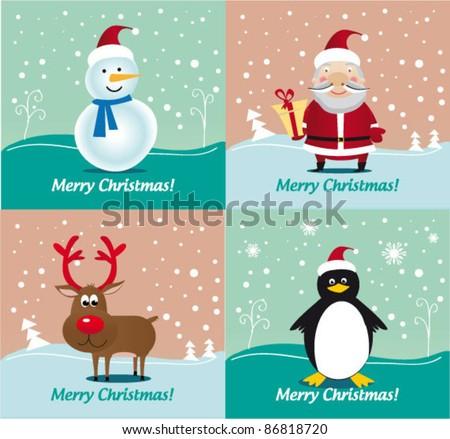 Christmas characters - Deer Rudolf, Santa Claus, Snowman, Penguin. Vector illustration. Special Pack. - stock vector