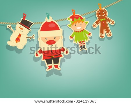 Christmas Characters on Blue Background. Santa Claus, Snowman and Christmas Elf. Vector Illustration. - stock vector