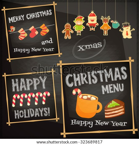 Christmas characters on Chalkboard. Cafe Sweet  Menu. Vector Illustration. - stock vector