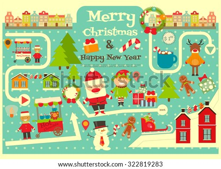 Christmas characters on City Map. Cute Santa Claus on Infographic Card. Sellers and Trucks with Christmas Food. Vector Illustration. - stock vector