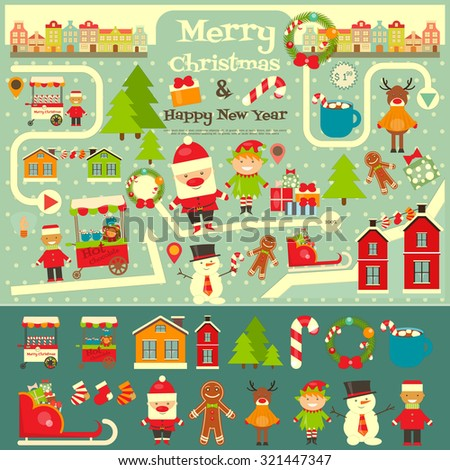 Christmas characters on City Map. Santa Claus on Infographic Card. Sellers and Trucks with Christmas Food. Vector Illustration. - stock vector