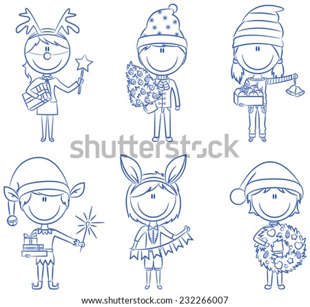 Christmas children with gifts and decorations - stock vector