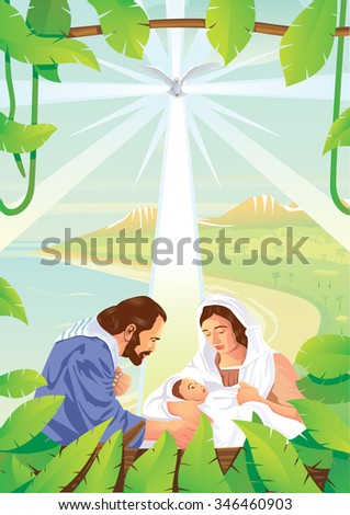Christmas Christian nativity scene with baby Jesus and Holy Spirit. - stock vector