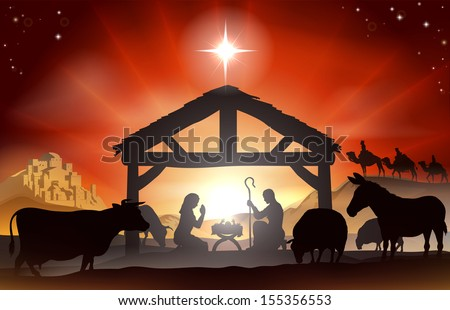 Christmas Christian nativity scene with baby Jesus in the manger in silhouette, three wise men or kings, farm animals and star of Bethlehem - stock vector