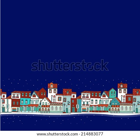 Christmas city (seamless pattern)  - stock vector