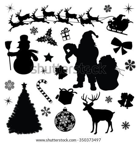 Christmas Collection Black Vector Illustration Silhouettes - stock vector
