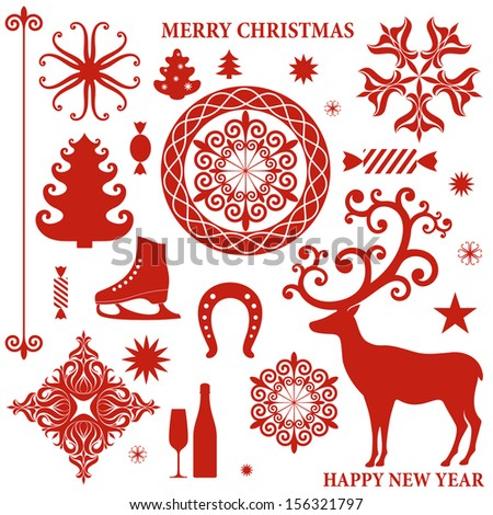 Christmas collection. Isolated elements on white background  - stock vector