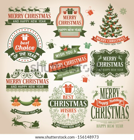 Christmas collection of design elements. - stock vector