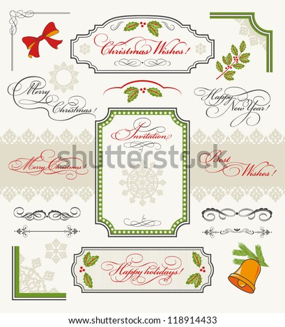 Christmas collection of Design Elements: set of calligraphic texts (Merry Christmas,  Happy New Year, Happy Holidays, Best Wishes, Invitation), borders, frames, ornaments, decorations. - stock vector