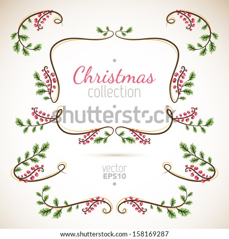 Christmas collection of nature elements with branches and leaves - stock vector