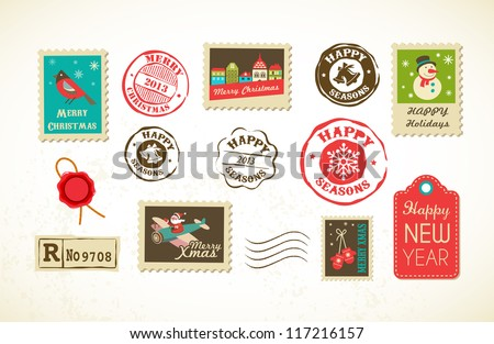 Christmas collection with vintage postage stamps - stock vector