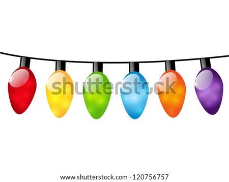 Christmas color light bulbs on white - stock vector