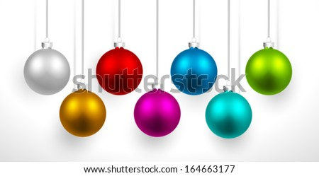 Christmas colored balls with shadow - stock vector