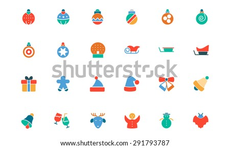 Christmas Colored Vector Icons - stock vector